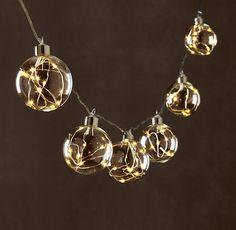 Starry Glass Globe String Lights - Diamond Lights On Silver Wire - Restoration Hardware
