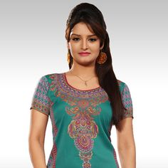 Turquoise Green Faux Crepe Readymade Kurti