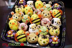 Animal onigiri party box by mymealbox, via Flickr