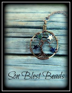 TREE of LIFE pendant / necklace w/ STARS 'A Starry Night' by Kimi Springer of Son Blest Beads ~ Lovely little tree of life full of hematite stars. $22.75