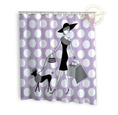 Girls Basketball Shower Curtains Purple Chevron With Flames