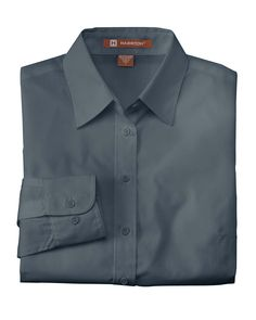 Harriton Womens Poplin Blend Long Sleeve Button Down Shirt M510W
