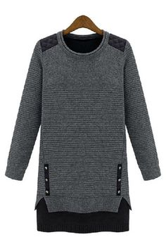 Charcoal Grey Leather Quilted Shoulder Tunic Sweater65