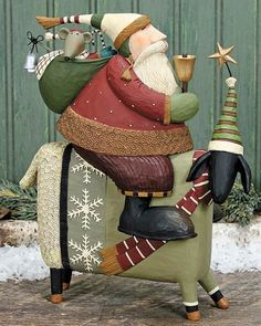 Santa Riding Sheep Figurine by Williraye Studio Father Christmas, Christmas Art, All Things Christmas, Vintage Christmas, Christmas Holidays, Christmas Decorations, Christmas Ornaments, Primitive Santa, Primitive Folk Art
