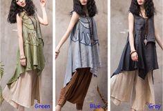 vintage dress maxi dress boho dress ethno dress cotton and linen dress looser dress casual dress plus size N-319 on Etsy, $85.90