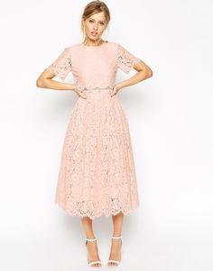 Image 4 ofASOS TALL SALON Lace Crop Top Midi Prom Dress
