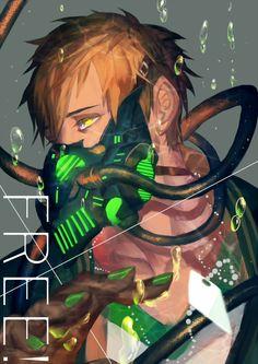 Makoto with gas mask Makoto Tachibana, Makoharu, Anime Mascaras, Orca Art, Free Eternal Summer, Splash Free, Free Iwatobi Swim Club, Another Anime, Game Character Design
