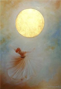 """""""A strange passion is moving in my head. My heart has become a bird which searches in the sky. Every part of me goes in different directions."""" —Rumi(Art: Mystical Dance by Gülcan Karadağ) . Dance Paintings, Islamic Paintings, Prophetic Art, Turkish Art, Islamic Art Calligraphy, Painting Inspiration, Inspiration Quotes, Art Projects, Art Drawings"""