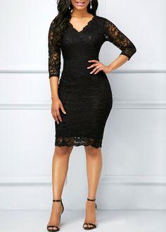 d26a9d891415 Black Three Quarter Sleeve V Neck Lace Dress