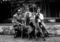 Humphrey Bogart, Lauren Bacall, and their son, Stephen, with their pet boxers at home in Los Angeles, CA, 1952.