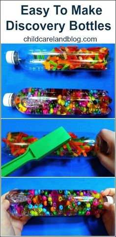 Easy To Make Discovery Bottles ... we love love love discovery bottles!! Or make them I Spy Bottles!