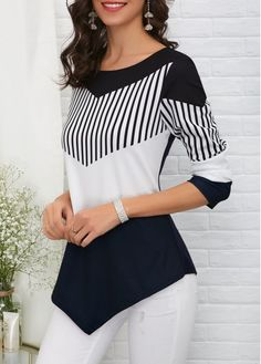 Asymmetric Hem Color Block T Shirt Modest Fashion, Fashion Outfits, Fashion Tips, Fashion Trends, Elegant Outfit, Blouse Styles, Types Of Sleeves, Street Style Women, Blouses For Women
