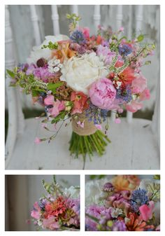 This soft pink and white bridal bouquet for a June wedding includes 100% Ohio grown flowers and features peonies, snapdragon, allium, scabiosa, zinnia larkspur, veronica, achillea, sweet peas, and crested celosia.  Design by Buckeye Blooms  www.buckeyeblooms.com