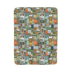 Blanket A large sized Great Outdoors camping themed  Sherpa Fleece Throw Blanket.  A perfect item to cozy up with on the couch for an evening of comfort.  #fleeceblanket #camping #pattern #throwblanket #kidsblanket #kids #kidsdecor #greatoutdoors