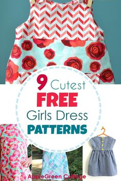 Dress Patterns For Girls - 9 Adorable Free Patterns! - AppleGreen Cottage - - Use one of the 9 free little girl dress patterns and make an adorable summer dress for your girl! little girl dress patterns. Little Girl Dress Patterns, Summer Dress Patterns, Dress Sewing Patterns, Sewing Patterns Free, Free Sewing, Free Pattern, Skirt Patterns, Coat Patterns, Blouse Patterns