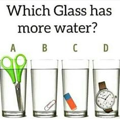 Science Discover Which Glass Has More Water Fysik/matematik sva (diskutera/skriva) Brain Teasers Riddles Brain Teasers With Answers Mind Puzzles Logic Puzzles Funny Puzzles Logic Questions Lateral Thinking Puzzles Circle Math Latest Jokes Math Logic Puzzles, Funny Puzzles, Mind Puzzles, Rebus Puzzles, Brain Teasers Riddles, Brain Teasers With Answers, Picture Puzzles Brain Teasers, Logic Questions, Lateral Thinking Puzzles