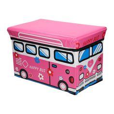 Van deze bus wordt je helemaal vrolijk! Deze opvouwbare poef is handig om je speelgoed netjes in op te ruimen. Of gebruik de poef om lekker op te zitten. Afmeting: 40 x 25 x 25 cm. - Opvouwbare Poef - Happy Bus