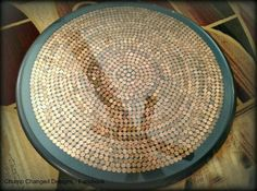Coffee table with coins as covering