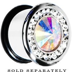 """7/16"""" Clear Aurora CZ Stainless Steel Tunnel Plug #bodycandy #plugs #gem $14.99 Gems Jewelry, Body Jewelry, Jewelery, Tapers And Plugs, Stretched Lobes, Ear Tunnels, Gauges Plugs, Body Mods, Weights"""