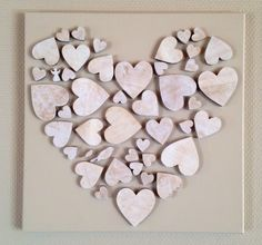 Neat idea to create a larger heart with smaller wood hearts Wooden Hearts Crafts, Heart Crafts, Wood Crafts, Diy And Crafts, Crafts For Kids, Arts And Crafts, Valentine Day Crafts, Valentine Decorations, Be My Valentine