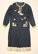 A nightshirt and shorts from the wardrobe of Denise Poiret reintroduce one of Poiret's earliest interests, the simple forms of classical dress. The first manifestations of a Neoclassical sensibility appeared in his designs of 1906 and reflected the proportions and cylindrical silhouette of the Directoire