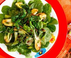 Spinach Salad with Seared Bok Choy, Ginger and Cilantro. This Asian-inspired recipe is alive with shades of green from spinach and bok choy and distinct flavors of soy sauce, ginger and garlic. And when you arrange the bok choy over fresh spinach, the warmth gently and slightly wilts the spinach leaves. The result is a mouth-watering medley of tastes and textures. DiabeticGourmet.com