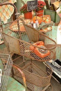 Old rusty shopping cart