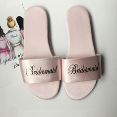 Personalized Name Satin Wedding Spar Slippers Bride Slippers, Wedding Slippers, Maid Of Honour Gifts, Maid Of Honor, Bridesmaid Slippers, Cheap Party Favors, Personalized Wedding Gifts, On Your Wedding Day, Types Of Shoes