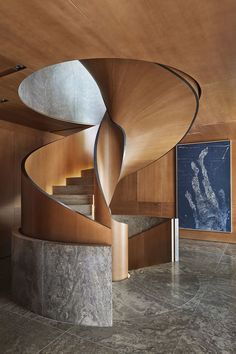 A Liaigre-Designed Masterpiece in Munich In the staircase hall Muschelkalk stone and cedar paneling on the walls. Architectural Digest, Stairs Architecture, Interior Architecture, Amazing Architecture, Luxury Interior, Home Interior, Scandinavian Interior, Cedar Paneling, Interior Design Books