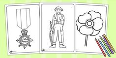 Anzac Day Colouring Sheets - anzac day, remember, colouring, war