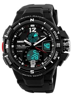 61929e4c201 SKMEI Big Face Watches For Mens Military Sports Casual Sports Black Analog  Digital Stopwatch *** Check out the image by visiting the link.