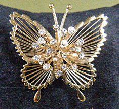 Vintage Gold Filigree MONET Butterfly by EyecatchersBoutique