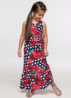 Vestido Longo Infantil (Azul) Brasileirinhos