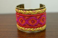 Yellow & Pink Native Cuff Bracelet,  by oRadhaO on Etsy