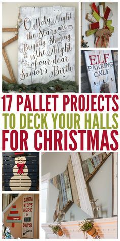 17 Pallet Projects to Deck Your Halls for Christmas Who doesn't like pallet projects or decorating for Christmas? Well here we have compiled a list of DIY pallet projects perfect for decking the halls this Holiday season. Pallet Projects Christmas, Wooden Pallet Projects, Pallet Crafts, Christmas Wood, Christmas Signs, All Things Christmas, Christmas Time, Craft Projects, Christmas Decorations