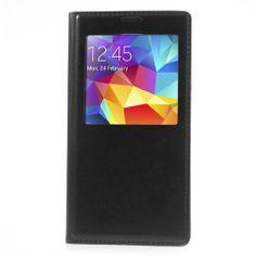 S-view cover noir aspect cuir pour Galaxy S5 - Coques en Folie