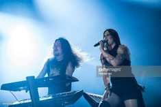 Tuomas Holopainen and Floor Jansen from Nightwish performs at 2015 Rock in Rio on September 25, 2015 in Rio de Janeiro, Brazil.