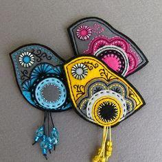 """Brož \""""Dressy Birds\""""  - Brooch - Felt - Colors"""