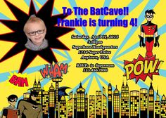 Superhero Birthday Invitation, Batman Birthday Invitation, Batman