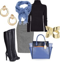 """Black, Grey, Gold, Purple, Periwinkle - Fall / Winter Work Outfit - Light Spring Colors"" by jennifer-thoden on Polyvore"