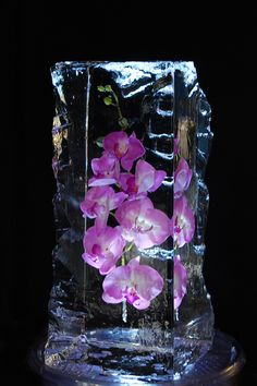 Glacier with flowers ice carving