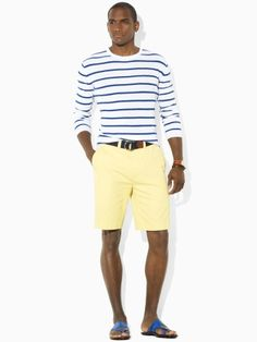 "Experiment with colors, patterns and textures. These shorts are a great length; they rest right above the knee which categorizes them as a ""Chino.""  (www.carteeimage.com)"