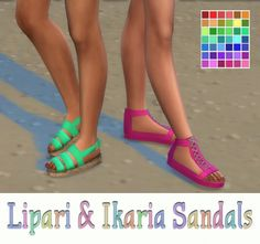 Simsworkshop: Lipari & Ikaria Sandals Recolors by maimouth • Sims 4 Downloads