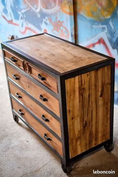 Commode Style Industriel Louis Philippe - Ameublement Console, Structure Metal, Philippe, Table Furniture, Dresser, Home Decor, Arredamento, Powder Room, Decoration Home