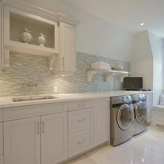Laundry Room Tile Backsplash, Contemporary, laundry room, Pricey Pads