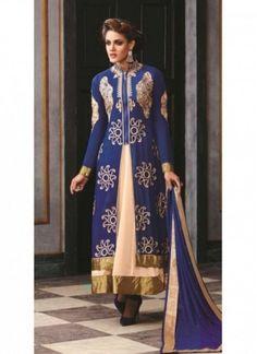 Robe Anarkali Couleur Bleu et Couleur Crème de Concepteur Indien Style Lehenga Robe Anarkali
