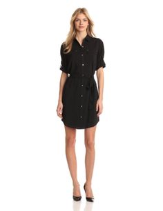 Calvin Klein Women's Shirt Dress > Price: $89.99 - $129.50 > Sizes: X-Small, Small, Medium, Large, X-Large. > * Polyester * Hand Wash * Shirt dress > Click on the image for details and offers.