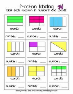 This is a three-page freebie from larger Furry Friends Fractions Pack.Identify the rectangular fractions in words and numbers.Answer Key inc. Teaching Fractions, Fractions Worksheets, Math Fractions, Teaching Math, Maths, Dividing Fractions, Teaching Activities, Teaching Ideas, Fraction Activities