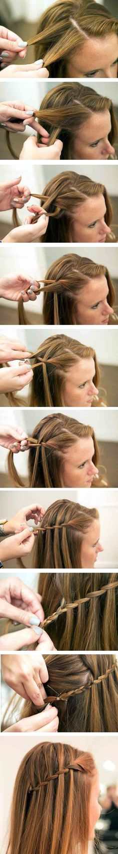 The Waterfall Braid Tutorial – Step by Step. I need to learn how to do this. I love it so much