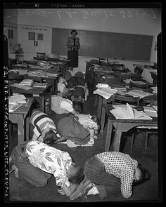 Duck and cover and don't look at the blast -School nuclear bomb drill during the Cold War. thats the way it was